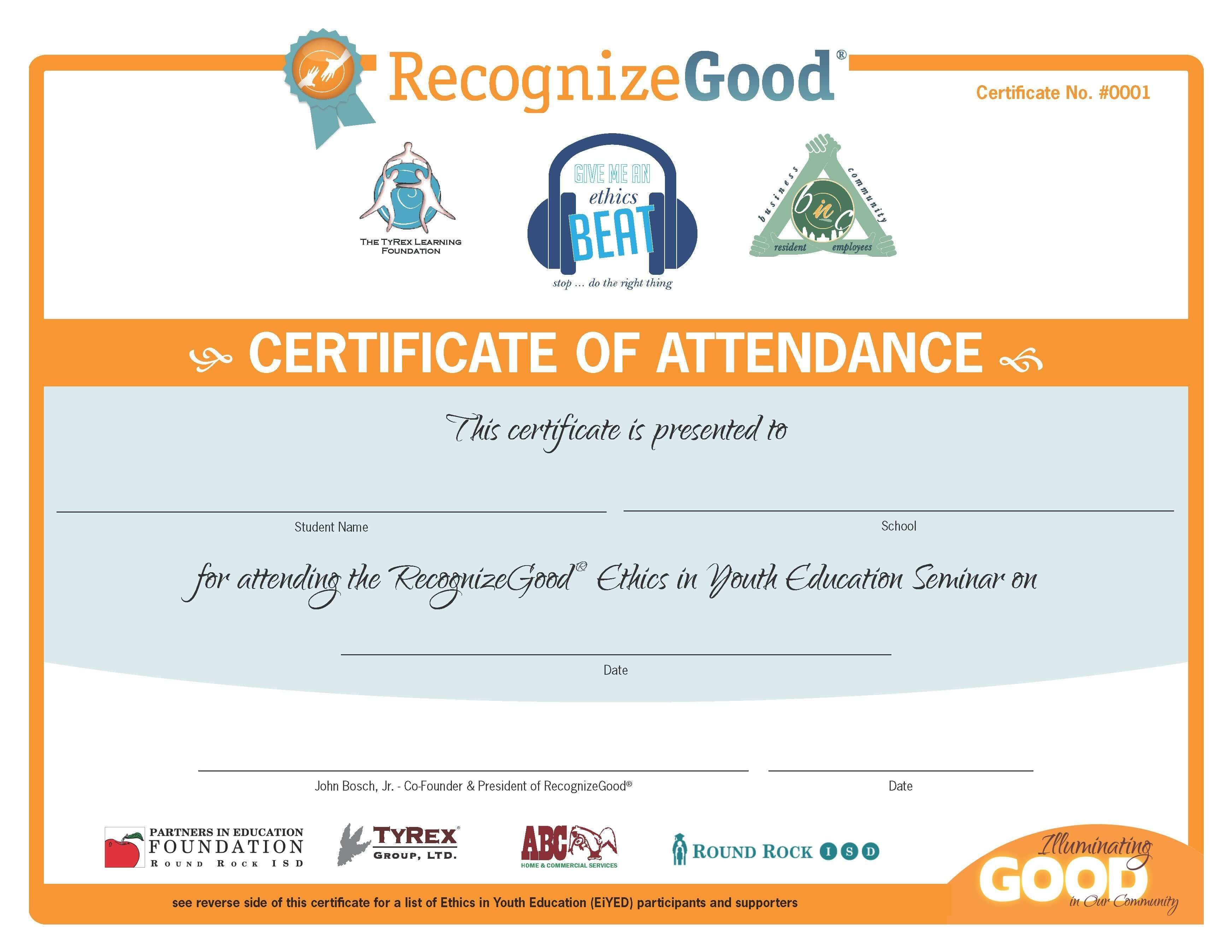 EiYED Attendance Certificate